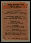 1983 Topps #101   -  Pete Rose Super Veteran Back Thumbnail