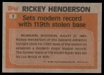 1983 Topps #2   -  Rickey Henderson Record Breaker Back Thumbnail