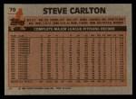 1983 Topps #70  Steve Carlton  Back Thumbnail