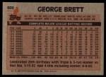 1983 Topps #600  George Brett  Back Thumbnail