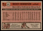 1981 Topps #261  Rickey Henderson  Back Thumbnail