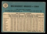 1965 Topps #426   Braves Team Back Thumbnail