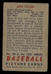 1951 Bowman #30  Bob Feller  Back Thumbnail
