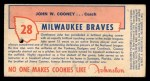 1954 Johnston Cookies #28  Johnny Cooney  Back Thumbnail
