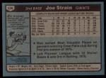 1980 Topps #538  Joe Strain  Back Thumbnail
