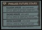1980 Topps #682   -  Ramon Aviles / Dickie Noles / Kevin Saucier  Phillies Rookies Back Thumbnail