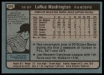 1980 Topps #233  LaRue Washington   Back Thumbnail