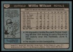1980 Topps #157  Willie Wilson    Back Thumbnail