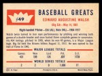 1960 Fleer #49  Ed Walsh  Back Thumbnail