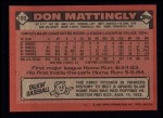 1986 Topps #180  Don Mattingly  Back Thumbnail
