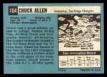1964 Topps #154  Chuck Allen  Back Thumbnail