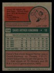 1975 Topps Mini #156  Dave Kingman  Back Thumbnail