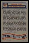1956 Topps U.S. Presidents #17  Franklin Pierce  Back Thumbnail