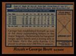 1978 Topps #100  George Brett  Back Thumbnail