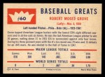 1960 Fleer #60 COR Lefty Grove  Back Thumbnail
