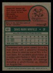 1975 Topps Mini #61  Dave Winfield  Back Thumbnail