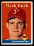1958 Topps #278  Mack Burk  Front Thumbnail