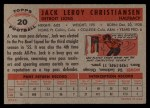 1956 Topps #20  Jack Christiansen  Back Thumbnail