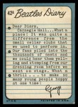 1964 Topps Beatles Diary #42 A George Harrison  Back Thumbnail