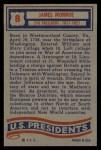 1956 Topps U.S. Presidents #8  James Monroe  Back Thumbnail