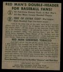 1952 Red Man #24 NL Bobby Thomson  Back Thumbnail