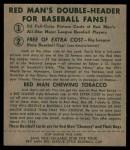 1952 Red Man #13 NL Whitey Lockman  Back Thumbnail