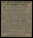 1952 Red Man #18 NL Robin Roberts  Back Thumbnail