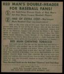 1952 Red Man #10 AL Johnny Groth  Back Thumbnail