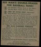1952 Red Man #13 AL George Kell  Back Thumbnail