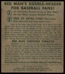 1952 Red Man #26 AL Gus Zernial  Back Thumbnail