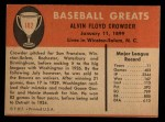 1961 Fleer #102  General Crowder  Back Thumbnail