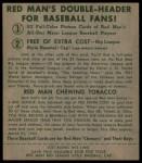 1952 Red Man #12 NL Ralph Kiner  Back Thumbnail