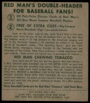 1952 Red Man #22 NL Warren Spahn  Back Thumbnail