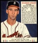 1952 Red Man #22 NL Warren Spahn  Front Thumbnail
