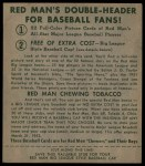 1952 Red Man #17 AL Bob Porterfield  Back Thumbnail