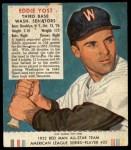 1952 Red Man #25 AL Eddie Yost  Front Thumbnail