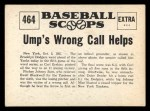 1961 Nu-Card Scoops #464   Ump's Wrong Call Helps Dodgers Back Thumbnail