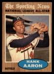 1962 Topps #394   -  Hank Aaron All-Star Front Thumbnail