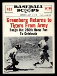 1961 Nu-Card Scoops #442   -   Hank Greenberg  Greenberg Returns to Tigers from Army Front Thumbnail