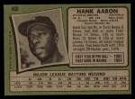 1971 Topps #400  Hank Aaron  Back Thumbnail