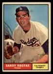 1961 Topps #344  Sandy Koufax  Front Thumbnail