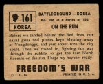 1950 Topps Freedoms War #161   On the Run  Back Thumbnail
