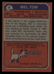 1973 Topps #8  Mel Tom  Back Thumbnail