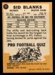 1967 Topps #51  Sid Blanks  Back Thumbnail