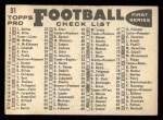 1959 Topps #31   Eagles Team Checklist Back Thumbnail
