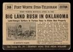 1954 Topps Scoop #38   Oklahoma Land Rush  Back Thumbnail