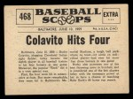 1961 Nu-Card Scoops #468   -   Rocky Colavito  Colavito Hits Four Homers In One Game Back Thumbnail