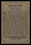 1956 Topps U.S. Presidents #14  James K. Polk  Back Thumbnail