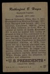 1956 Topps U.S. Presidents #22  Rutherford B. Hayes  Back Thumbnail