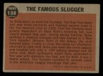 1962 Topps #138 A  -  Babe Ruth The Famous Slugger Back Thumbnail